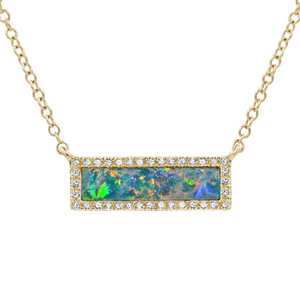 REFLECTION OPAL BAR NECKLACE WITH DIAMONDS Mystique Jewelers Alexandria, VA