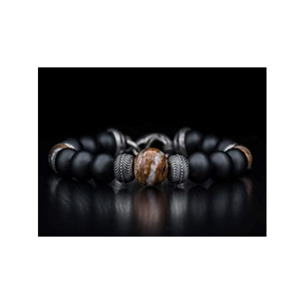 Bead bracelet black onyx and fossil Wooly Mammoth tooth Image 2 Mystique Jewelers Alexandria, VA