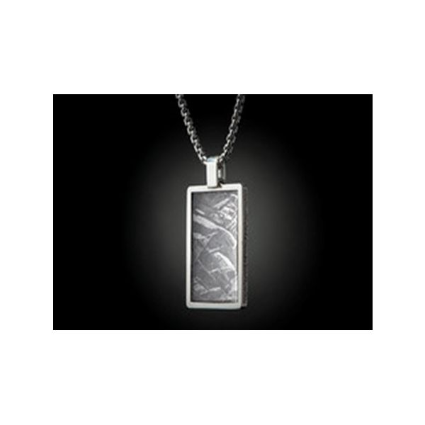 Large Sterling Silver dog tag inlaid with Meteorite Mystique Jewelers Alexandria, VA