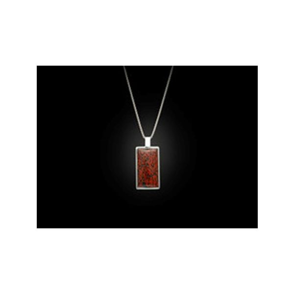 red fossil dinosaur bone Small dog tag inlaid  necklace sterling silver Mystique Jewelers Alexandria, VA