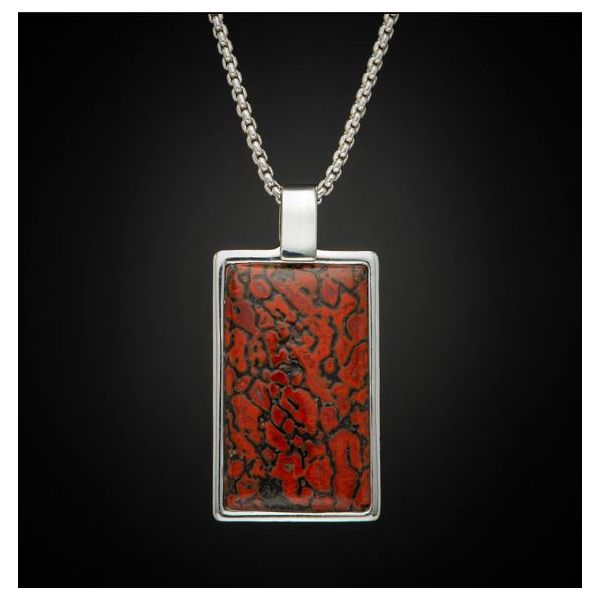 Dinosaur fossil small dog tag inlaid necklace Image 2 Mystique Jewelers Alexandria, VA