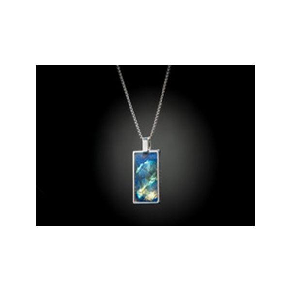 Sterling Silver Labradorite inlaid dog tag necklace Mystique Jewelers Alexandria, VA