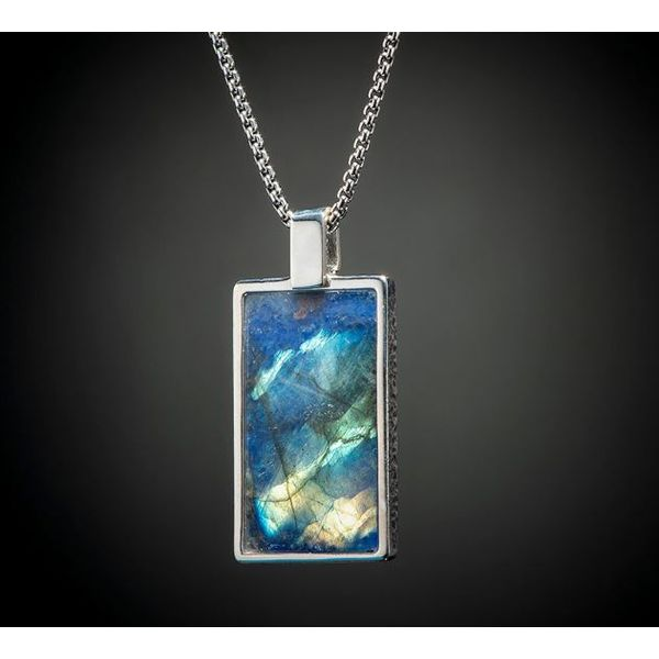 Labradorite inlaid dog tag necklace Mystique Jewelers Alexandria, VA