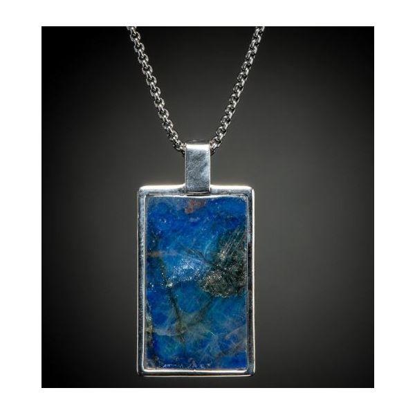 Labradorite inlaid dog tag necklace Image 2 Mystique Jewelers Alexandria, VA