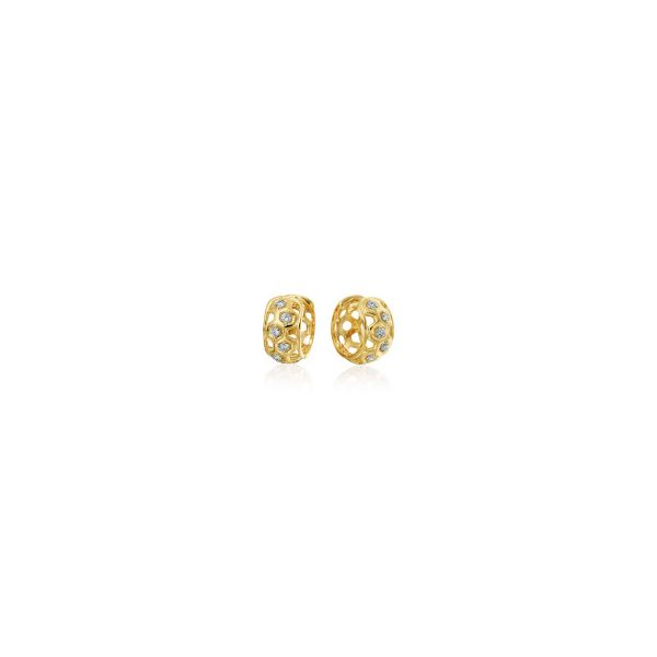 "GUMUCHIAN HONEYBEE ""B"" 18K YELLOW GOLD DIAMOND HUGGIE EARRINGS Mystique Jewelers Alexandria, VA"