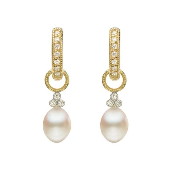 JudeFrances 18K Gold, Pearl, and Diamond Earring Charms. Mystique Jewelers Alexandria, VA
