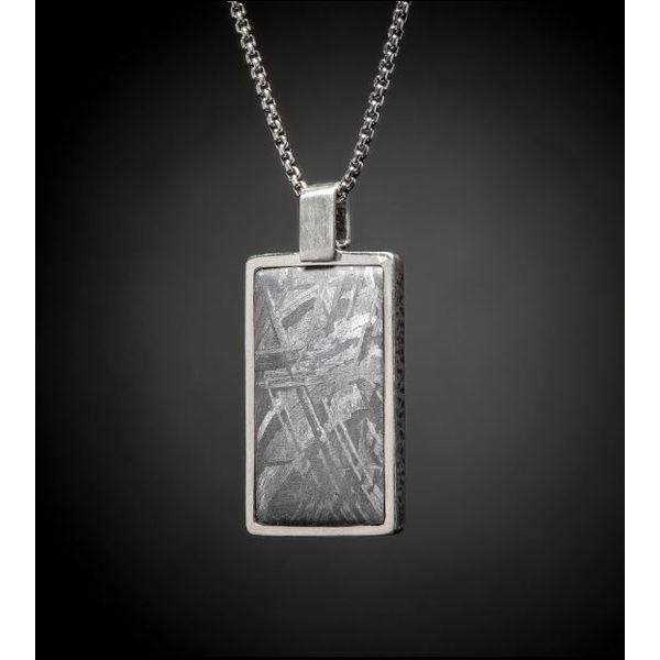 Meteorite inlaid dog tag necklace Mystique Jewelers Alexandria, VA