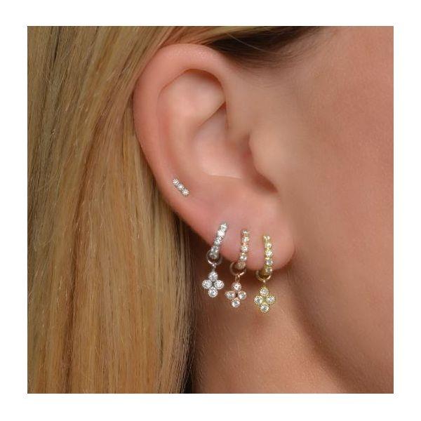 White Gold Petite Diamond Quad Charm Image 2 Mystique Jewelers Alexandria, VA