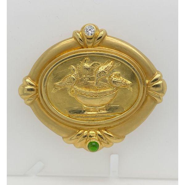 Diamond and Emerald Gold Bird Brooch Mystique Jewelers Alexandria, VA