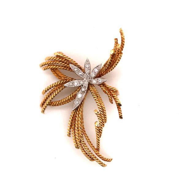 Diamond & Gold Floral Pin Mystique Jewelers Alexandria, VA