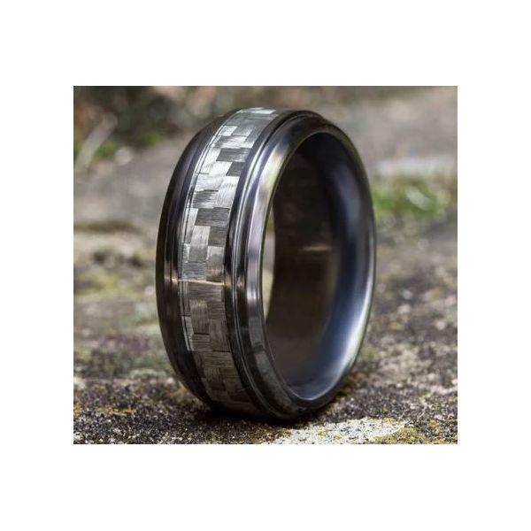 Black Titanium band carbon fiber center inlay Image 2 Mystique Jewelers Alexandria, VA