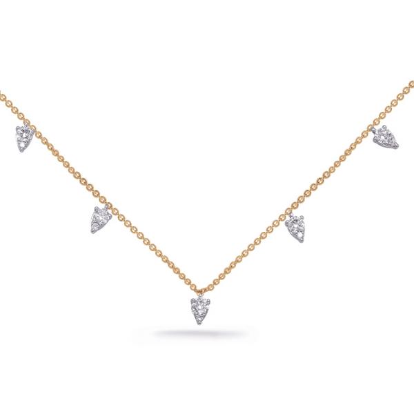 Yellow and White Gold Diamond Drop Necklace Mystique Jewelers Alexandria, VA