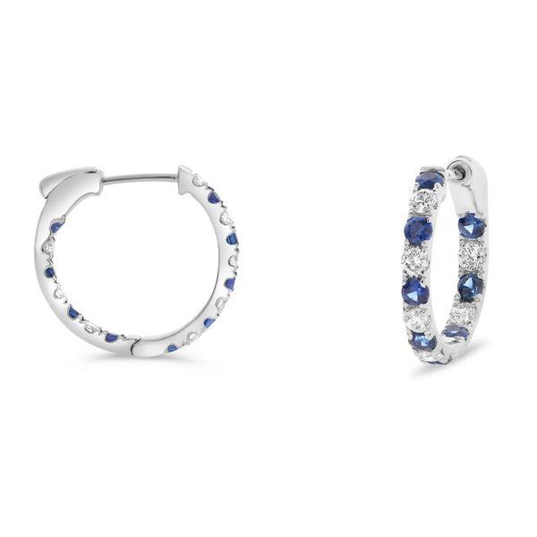 Inside-out Diamond and Sapphire Half-Inch Hoops Mystique Jewelers Alexandria, VA