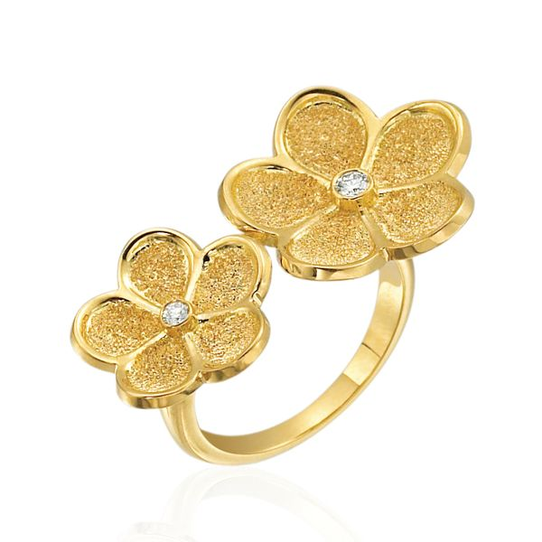 18K YELLOW GOLD DIAMOND FLOATING DAISY RING Mystique Jewelers Alexandria, VA