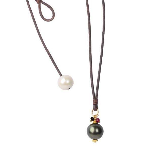 Royal Drop, Tahitian leather necklace  Mystique Jewelers Alexandria, VA