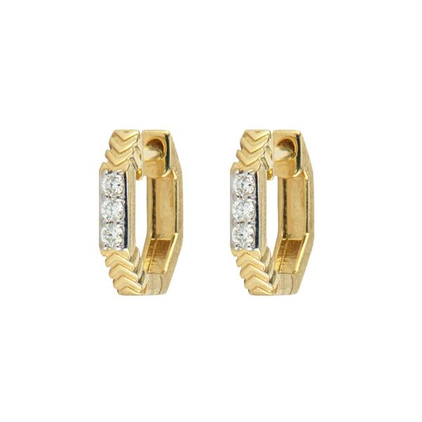 Hoop Earrings With Diamond Chevron Pattern Mystique Jewelers Alexandria, VA