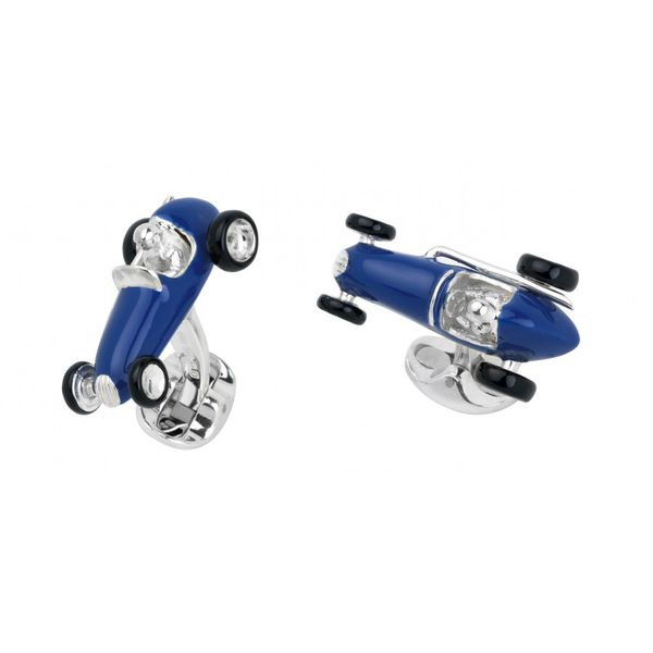 STERLING SILVER BLUE RACING CAR CUFFLINKS Mystique Jewelers Alexandria, VA