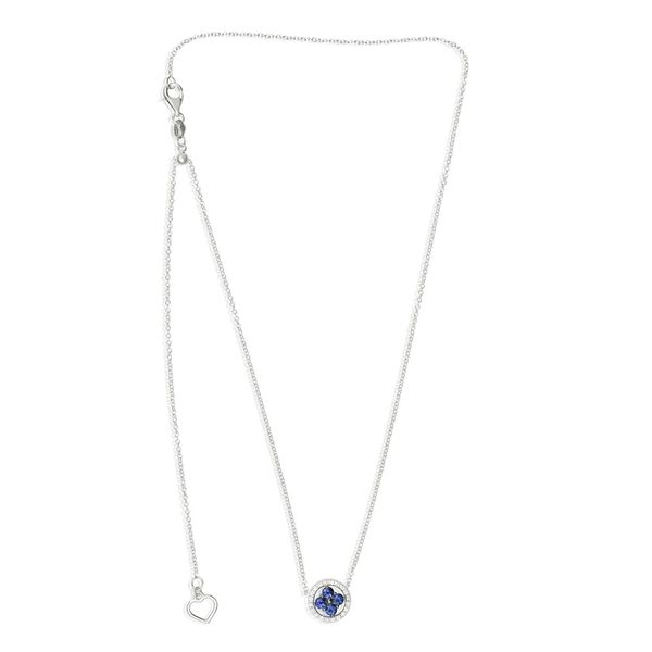 Sapphire & Diamond Cluster Necklace Image 2 Mystique Jewelers Alexandria, VA