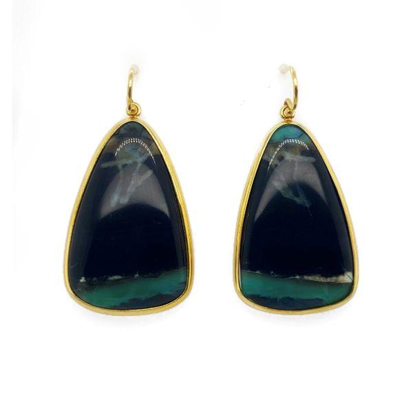 Blue Opal & Petrified Wood Earrings Mystique Jewelers Alexandria, VA