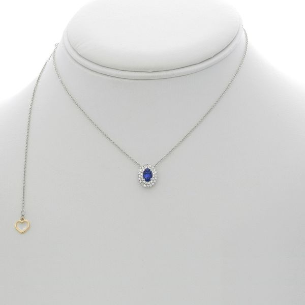 Oval Sapphire Double Halo Necklace  Image 2 Mystique Jewelers Alexandria, VA