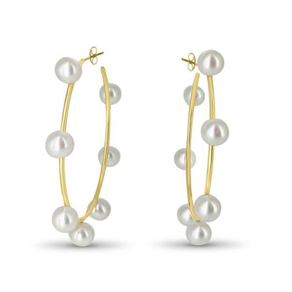 7 Pearl Hoop Earrings Image 2 Mystique Jewelers Alexandria, VA