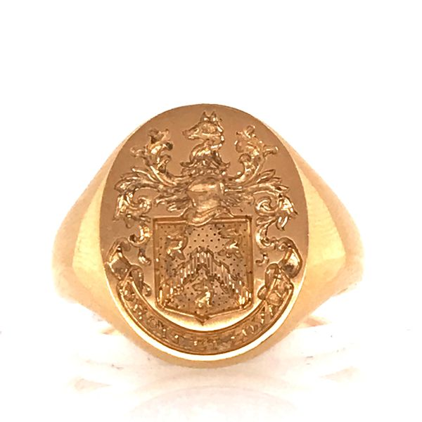 18K Yellow Gold Signet Crest Ring Mystique Jewelers Alexandria, VA