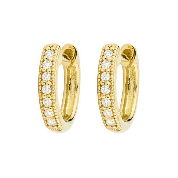 Diamond Huggie Hoop Earrings  Image 2 Mystique Jewelers Alexandria, VA