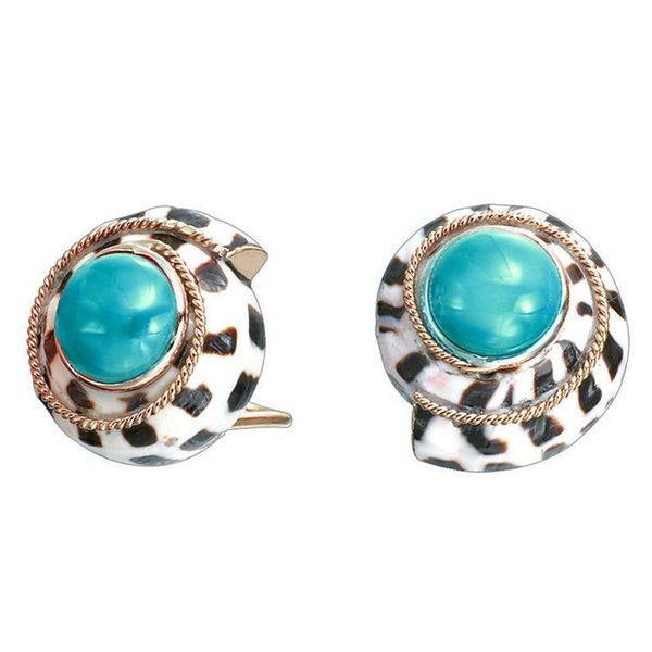 14K Gold Hebrew Cone Shell with Turquoise Coral Earrings Mystique Jewelers Alexandria, VA