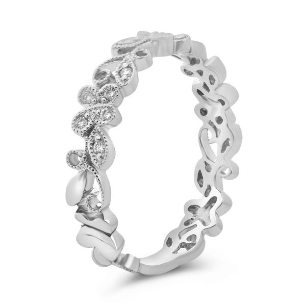 Delicate Diamond Filigree Band Image 2 Mystique Jewelers Alexandria, VA