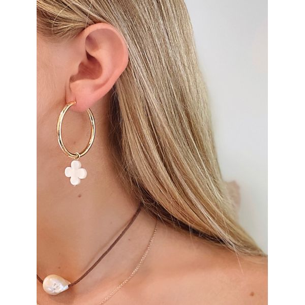 Mother of Pearl Flower Earring Charm Image 2 Mystique Jewelers Alexandria, VA