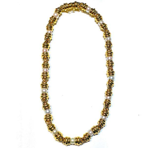 Gold Link Pearl Necklace  Mystique Jewelers Alexandria, VA
