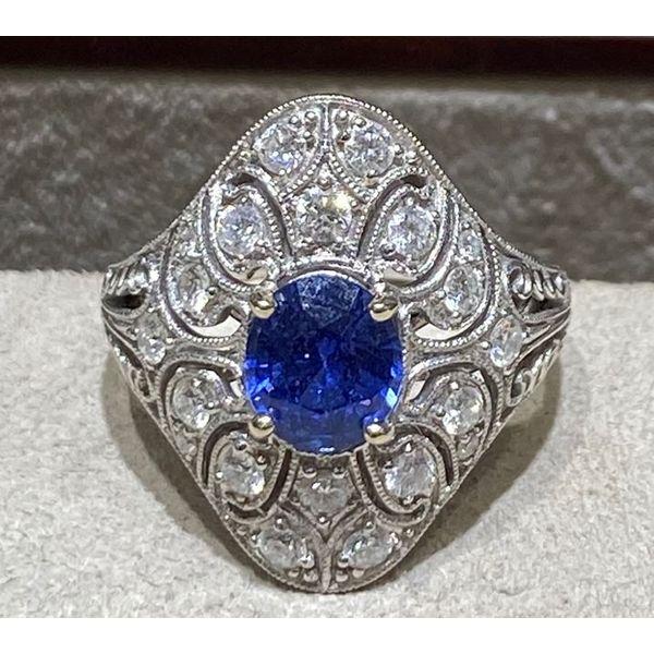 Estate Sapphire & Diamond Ring Image 2 Mystique Jewelers Alexandria, VA