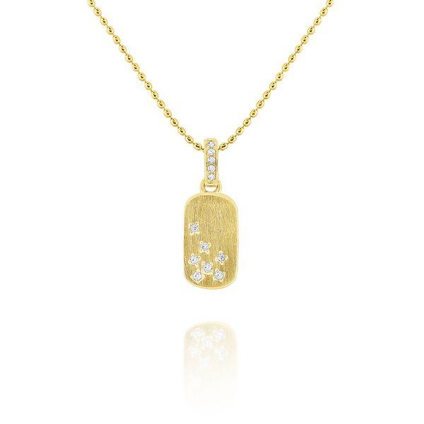 14k Diamond Tag Necklace with Brushed Finish Mystique Jewelers Alexandria, VA