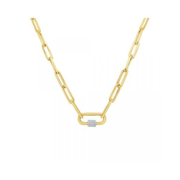 Diamond Charm Holder on Paperclip Chain Mystique Jewelers Alexandria, VA