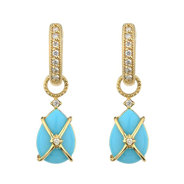 Tiny Criss Cross Wrapped Pear Stone Earring Charms Image 3 Mystique Jewelers Alexandria, VA