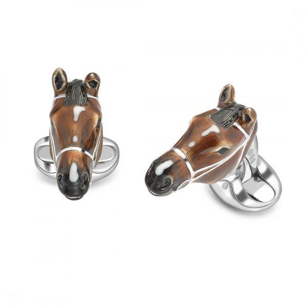 Sterling Silver Brown Horse Head Cufflinks Mystique Jewelers Alexandria, VA