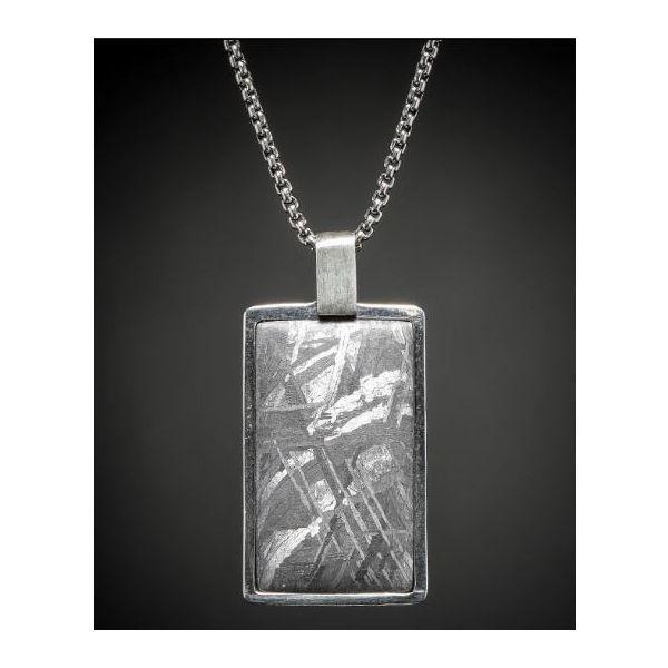 Meteorite inlaid dog tag necklace Image 2 Mystique Jewelers Alexandria, VA