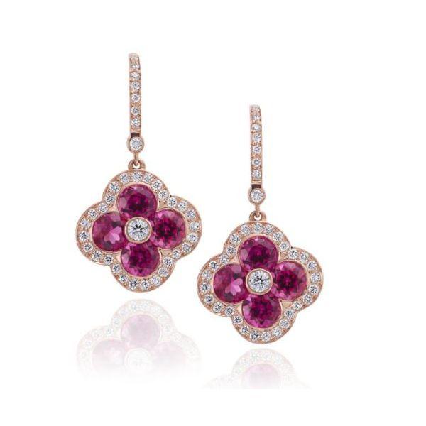Pink Tourmaline Diamond Earrings Mystique Jewelers Alexandria, VA