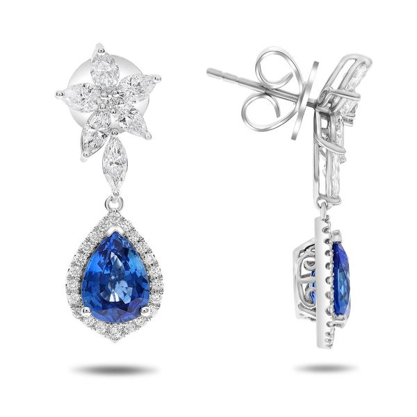 4+ Carat Pear Shaped Blue Sapphire and Diamond Drop Earrings Mystique Jewelers Alexandria, VA