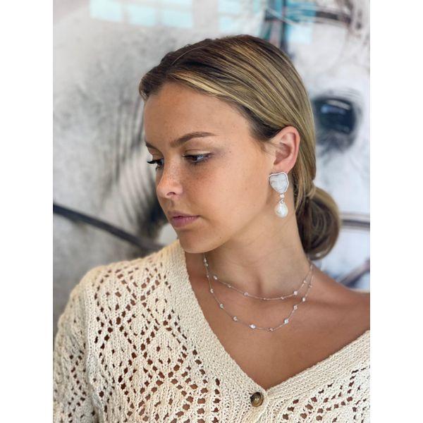 Carved Moonstone , Onyx Diamond Earrings Mystique Jewelers Alexandria, VA