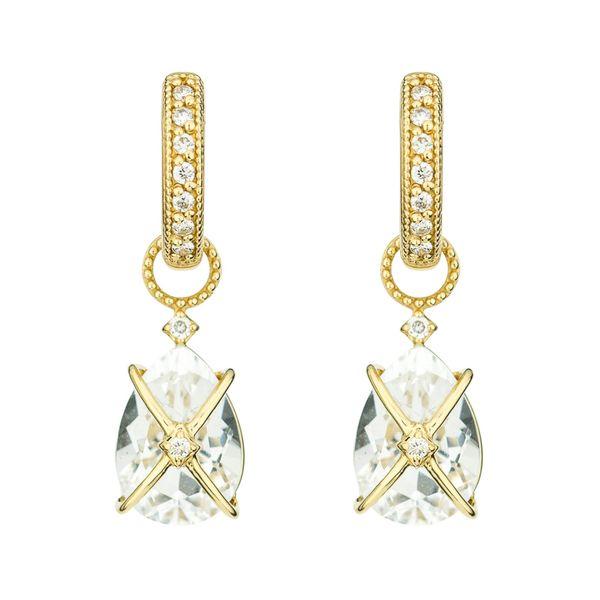 Tiny Criss Cross Wrapped Pear Stone Earring Charms Mystique Jewelers Alexandria, VA