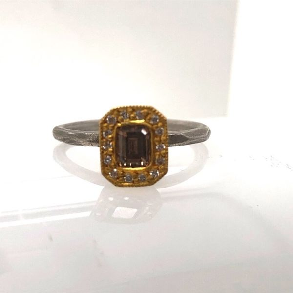 S.S. & 22ky Champagne Diamond Halo Ring Mystique Jewelers Alexandria, VA