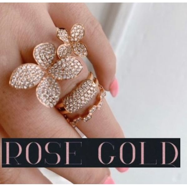 Rose Gold and Pave Diamond Double Flower Ring Image 2 Mystique Jewelers Alexandria, VA