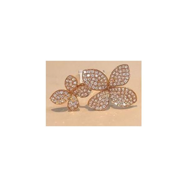 Rose Gold and Pave Diamond Double Flower Ring Image 3 Mystique Jewelers Alexandria, VA