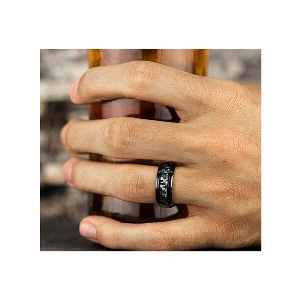 Black Titanium band carbon fiber center inlay Image 3 Mystique Jewelers Alexandria, VA