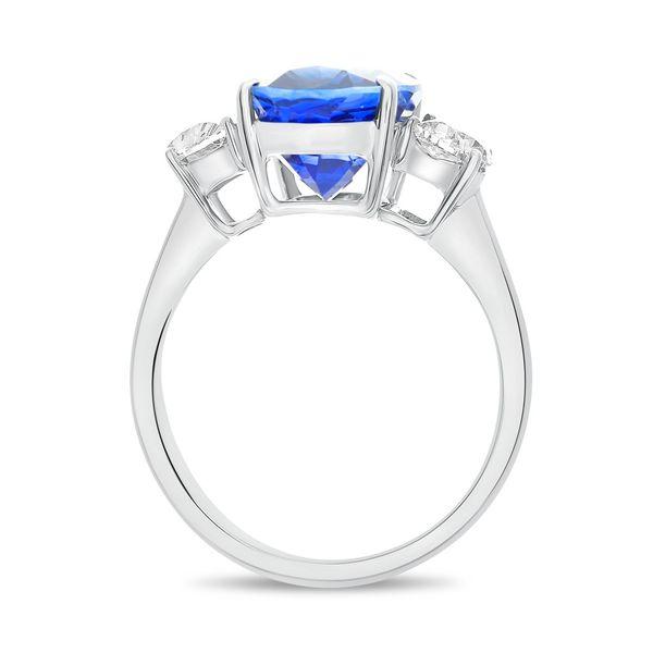 Platinum 3-Stone Oval Sapphire and Half Moon Diamond Ring Image 3 Mystique Jewelers Alexandria, VA