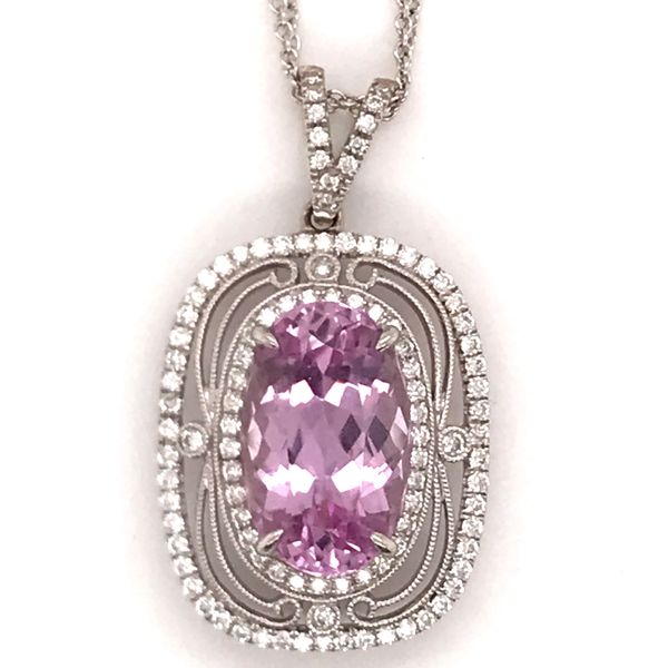 Simon G Kunzite and diamond necklace Mystique Jewelers Alexandria, VA