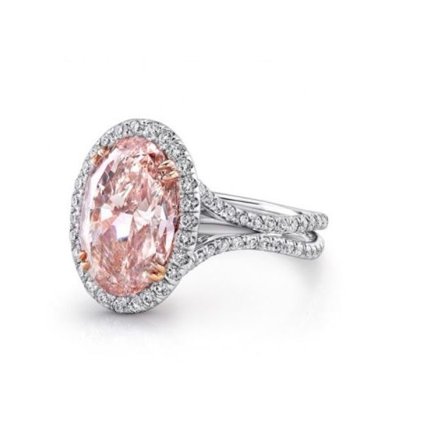 Oval Pink Diamond Halo Engagement Ring Image 2 Mystique Jewelers Alexandria, VA
