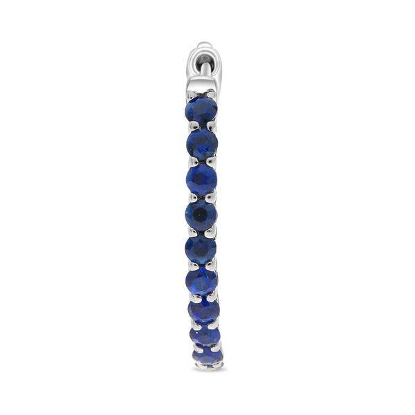 Blue Sapphire Oval Hoop Earrings Image 2 Mystique Jewelers Alexandria, VA