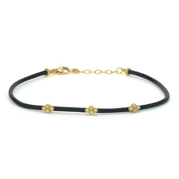 Petite Diamond Quad Leather Bracelet Mystique Jewelers Alexandria, VA